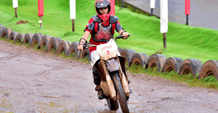 This monsoon experience drift on dirt with high-end bikes at Della Adventure