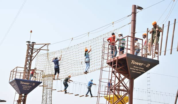 Perform High Rope Challenge Course at Della Adventure