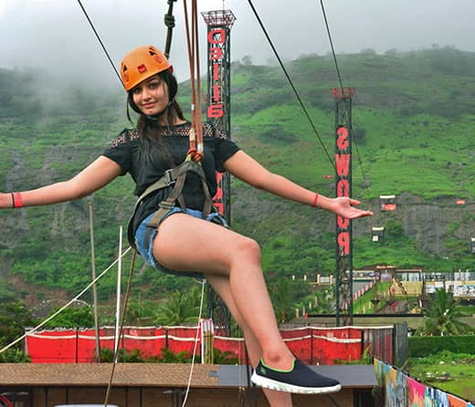 Perform India's Longest Flying Fox at Della Adventure Park