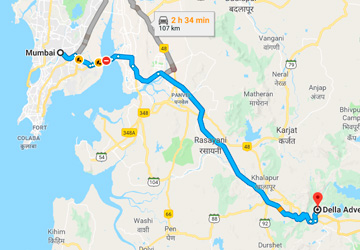 Mumbai to Della Adventure Park Road Map