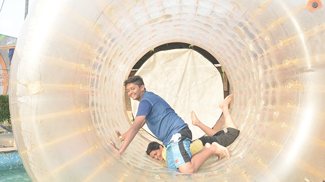 Enjoy Thrilling activty Roller Zorb at Della