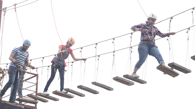 Enjoy High Rope Challenge Course with your colleagues at Della