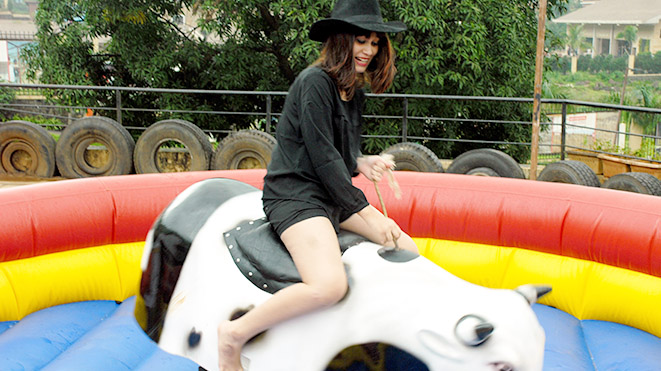 Enjoy Rodeo Bull Ride at Della Adventure Park, Lonavla