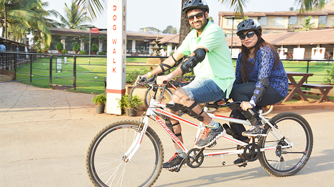 Ride Double Seater Tandem Cycle with your partner at Della Adventure Park