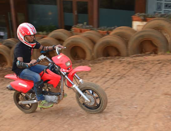 Ride Motor Cross Dirt bike small at Della Adventure Park